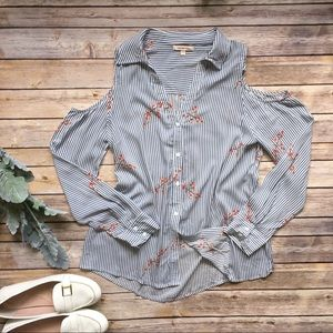 Skies are Blue Cold Shoulder Blouse